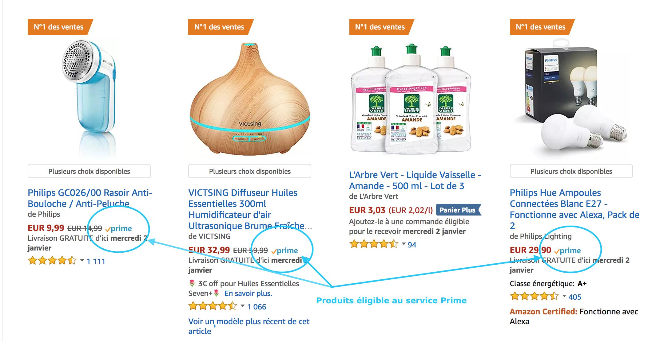 Acheter des produits Prime Amazon