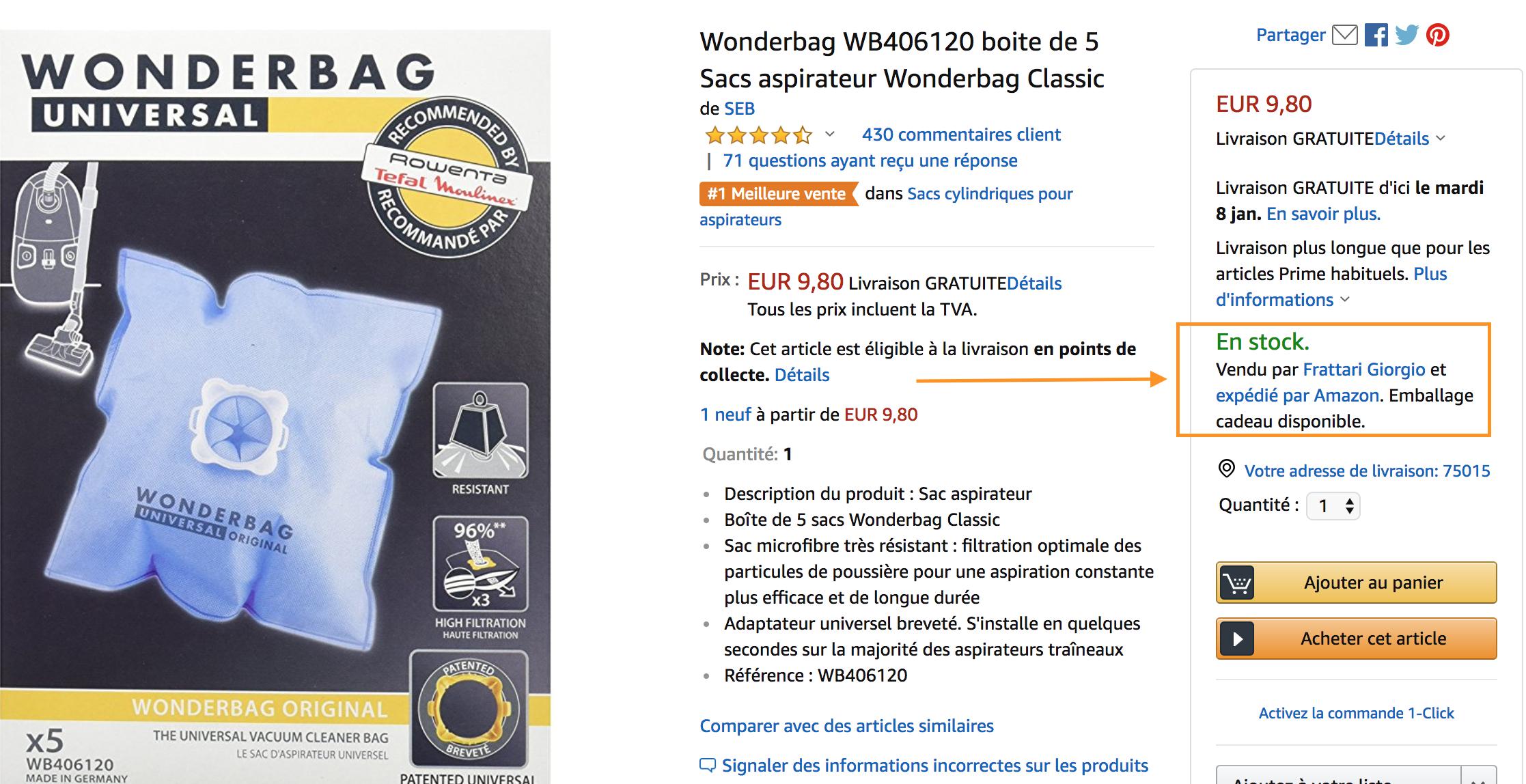 Produit vendu et Expédié par Amazon